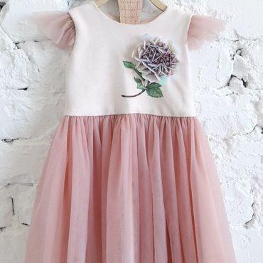 Работы для детей, ручной работы. Ярмарка Мастеров - ручная работа Фатиновое вечернее платье для девочки. Нарядное  дизайнерское платье. Handmade.