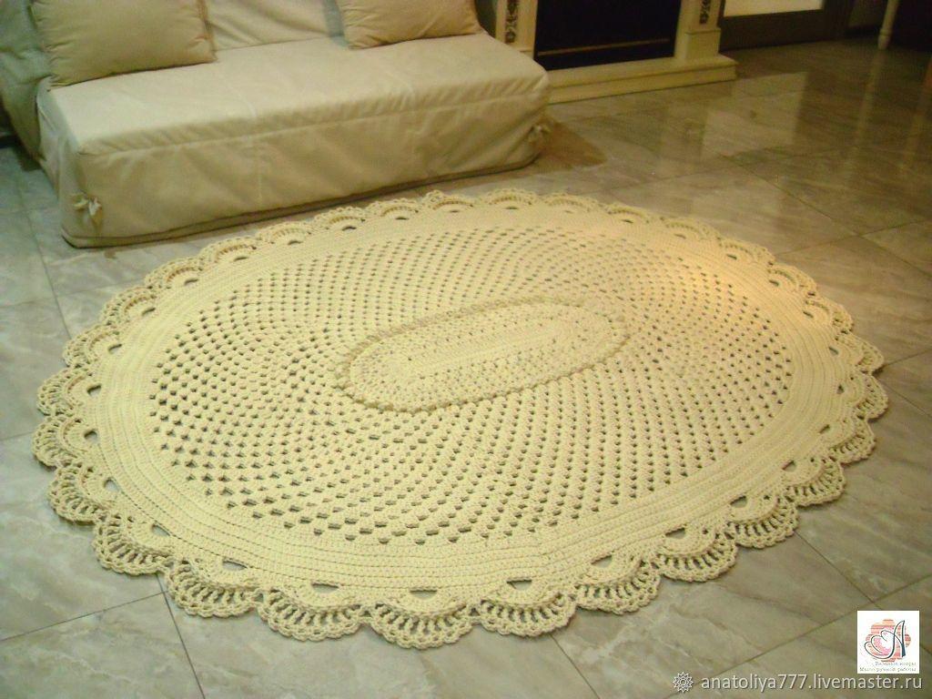 Crochet a large oval rug of the Elegant cord-3, Carpets, Kabardinka,  Фото №1