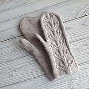 Аксессуары handmade. Livemaster - original item Mittens knitted felted beige. Handmade.