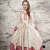 Одежда handmade. Livemaster - original item Long cotton dress mixed colors. Handmade.
