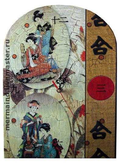 """Часы для дома ручной работы. Ярмарка Мастеров - ручная работа. Купить Часы """"Япония"""". Handmade. Часы, Декупаж, япония"""