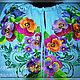 Dress embroidered linen 'Pansies'. Dresses. Individual vyshivanka. (oksanetta). Online shopping on My Livemaster.  Фото №2