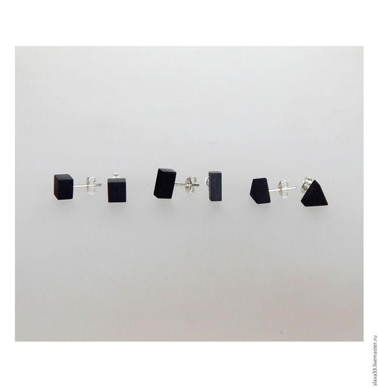 Серьги ручной работы. Ярмарка Мастеров - ручная работа. Купить Стильные черные пусеты из дерева.. Handmade. Черный, чёрные пусеты