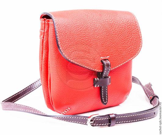 """Женские сумки ручной работы. Ярмарка Мастеров - ручная работа. Купить Кожаная сумка """"Пола"""" красная. Handmade. Ярко-красный"""
