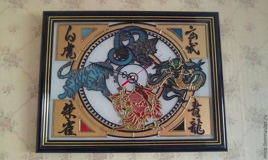 """Часы для дома ручной работы. Ярмарка Мастеров - ручная работа. Купить Часы """"4 стихии"""". Handmade. Витраж"""