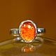 """Кольца ручной работы. Кольцо """"Tangerine"""" с огненным опалом. Mukha Jewellery. Интернет-магазин Ярмарка Мастеров. Кольцо с опалом"""