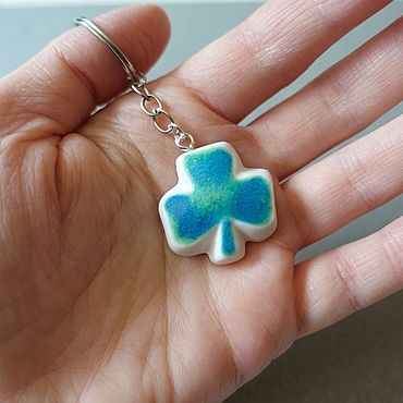 Accessories handmade. Livemaster - original item Clover keychain, turquoise color, handmade keychain, clover. Handmade.