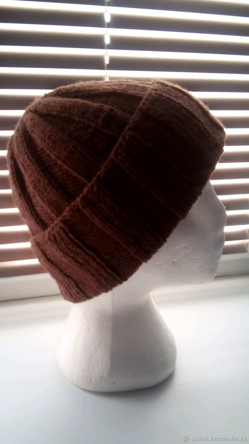 Hat knitted unisex, brown, Caps, Kamyshin,  Фото №1