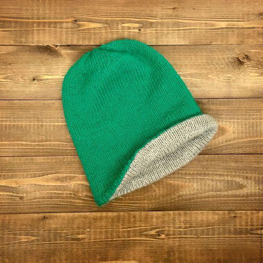 Шапки ручной работы. Ярмарка Мастеров - ручная работа. Купить Шапка бини утепленная. Handmade. Зеленый, шапка вязаная