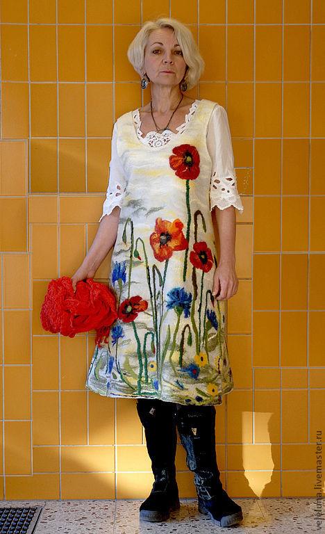 Платье валеное Я помню лето выполнено в технике нуновойлок lАвторская работа  мастер Veleluna ( Наталия Каретникова)