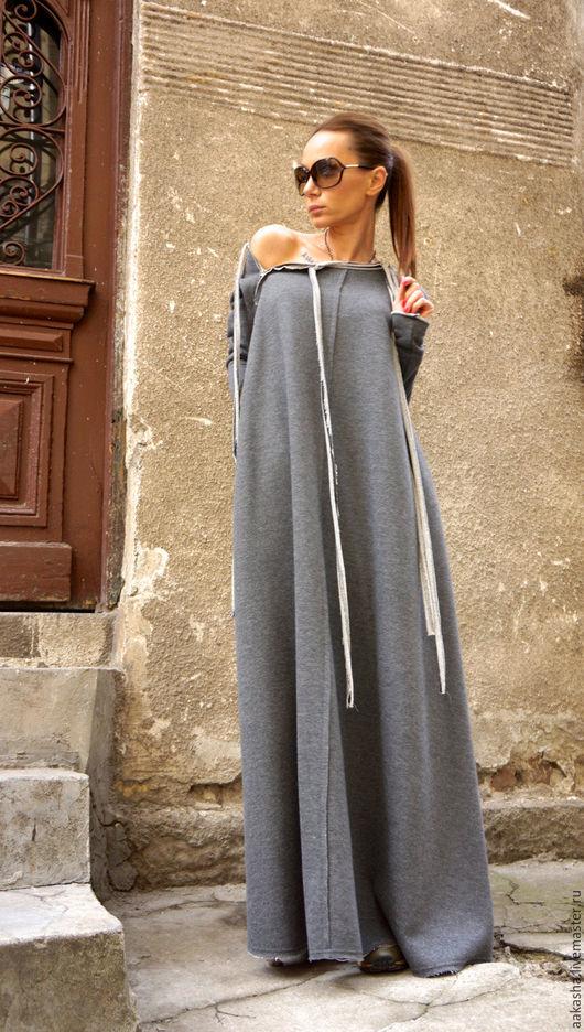 платье в пол длинное платье серое платье из хлопка платье макси дизайнерское платье
