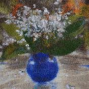 Картины и панно ручной работы. Ярмарка Мастеров - ручная работа Ландыши в синей вазе, войлок, панно. Handmade.
