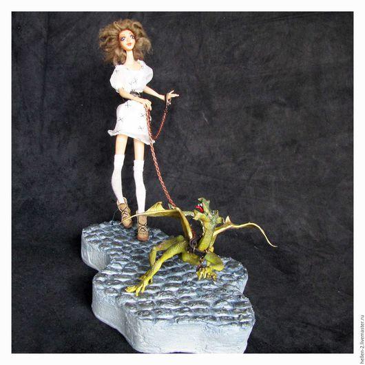 Коллекционные куклы ручной работы. Ярмарка Мастеров - ручная работа. Купить Девочка и дракон. Handmade. Кукла ручной работы, комбинированный
