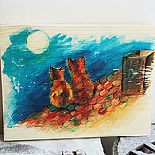 """Для дома и интерьера ручной работы. Ярмарка Мастеров - ручная работа Картина на дереве """"Коты на крыше"""". Handmade."""