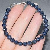 Украшения handmade. Livemaster - original item Silver 925pr. Natural sapphire bracelet with cut. Handmade.