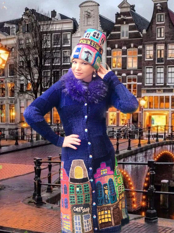 """Платье-пальто """"Вечерний Амстердам"""" с мехом, Пальто, Москва,  Фото №1"""