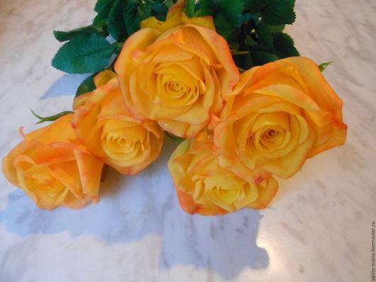 Цветы ручной работы. Ярмарка Мастеров - ручная работа. Купить Розы (холодный фарфор ). Handmade. Желтый
