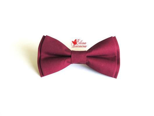 Галстуки, бабочки ручной работы. Ярмарка Мастеров - ручная работа. Купить Бабочка галстук бордовая, хлопок. Handmade. Бордовый