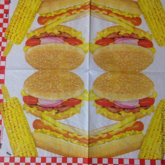 Гамбургер, хот-дог и кукуруза Салфетка для декупажа Салфетка пр-во Германия Декупажная радость