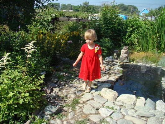 Одежда для девочек, ручной работы. Ярмарка Мастеров - ручная работа. Купить Еленкино платье. Handmade. Ярко-красный, платье вязаное