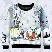 Одежда ручной работы. Ярмарка Мастеров - ручная работа Свитшот Снеговики. Handmade.