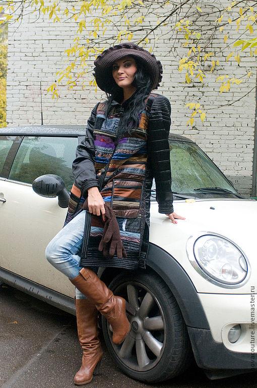 """Верхняя одежда ручной работы. Ярмарка Мастеров - ручная работа. Купить Пальто черное """"печворк"""". Handmade. Черный, легкое пальто"""