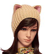 Аксессуары handmade. Livemaster - original item Hat with Cat ears knitted female. Realistic ears. Handmade.