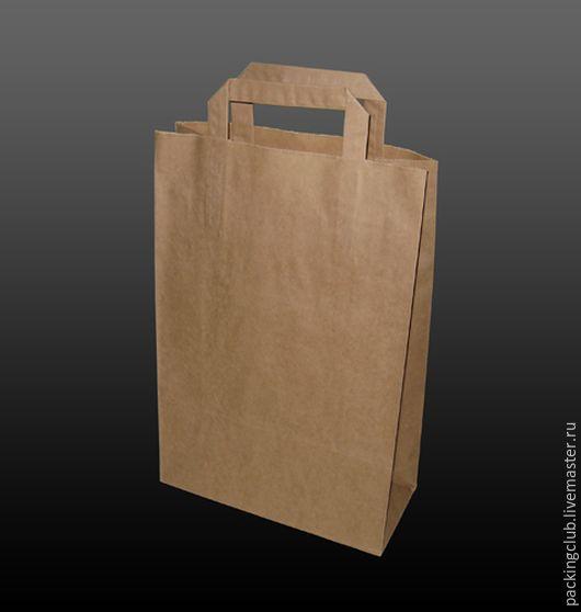 Упаковка ручной работы. Ярмарка Мастеров - ручная работа. Купить Крафт пакет с плоскими ручками 360х220х105мм. Handmade. Коричневый, крафт