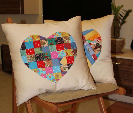 Текстиль, ковры ручной работы. Ярмарка Мастеров - ручная работа. Купить Подушки с сердечком. Handmade. Подушка, пэчворк, квилт, quilt