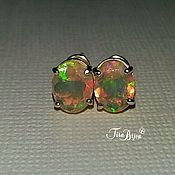 Украшения handmade. Livemaster - original item Stud earrings with opals. Handmade.