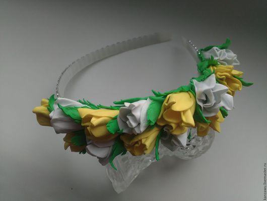 Диадемы, обручи ручной работы. Ярмарка Мастеров - ручная работа. Купить Ободок розы. Handmade. Комбинированный, ободок, ободок для волос
