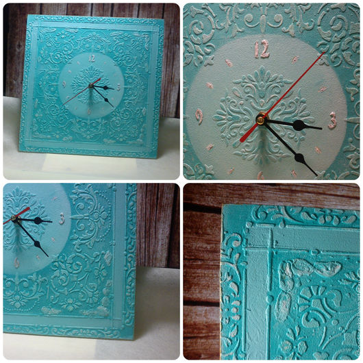 """Часы для дома ручной работы. Ярмарка Мастеров - ручная работа. Купить Часы """"Линии света"""". Handmade. Бирюзовый, подарок"""