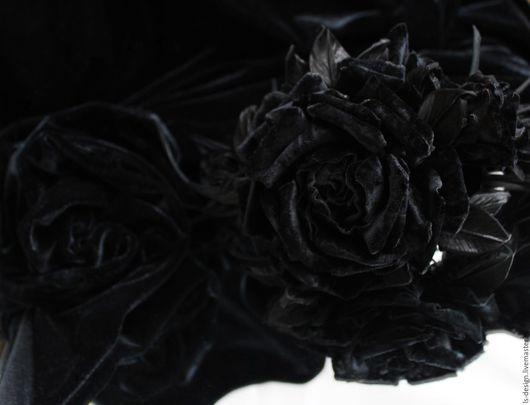 Ткань для цветов ручной работы. Ярмарка Мастеров - ручная работа. Купить Бархат «Черный». Handmade. Черный, бархат, бархат черный