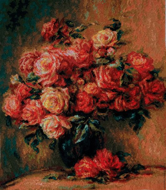 """Репродукции ручной работы. Ярмарка Мастеров - ручная работа. Купить Вышитая картина """"Букет роз Ренуара"""". Handmade. Бордовый, розы"""