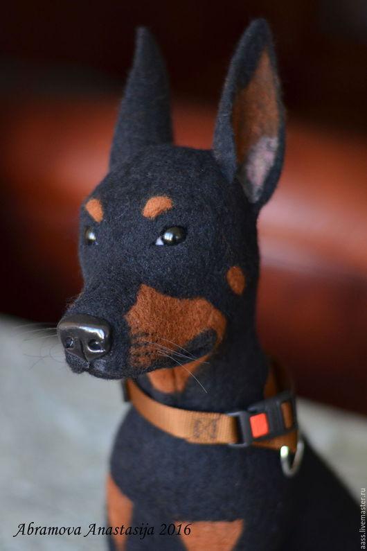 """Игрушки животные, ручной работы. Ярмарка Мастеров - ручная работа. Купить Доберман """"Бетмен"""". Handmade. Черный, подарок"""