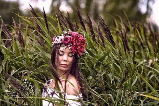"""Цветы ручной работы. Ярмарка Мастеров - ручная работа. Купить Полувенок для волос """"Пелагея"""".. Handmade. Цветы из ткани, венок для фотосессии"""