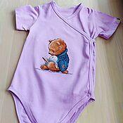 handmade. Livemaster - original item Baby bodysuit with hand embroidery