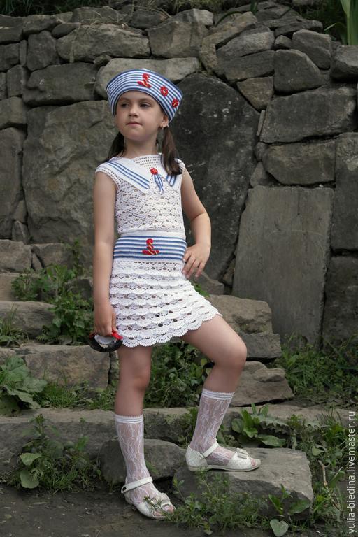 """Шапки и шарфы ручной работы. Ярмарка Мастеров - ручная работа. Купить Комплект для девочки """"Морская прогулка"""" (юбка, майка, панамка). Handmade."""