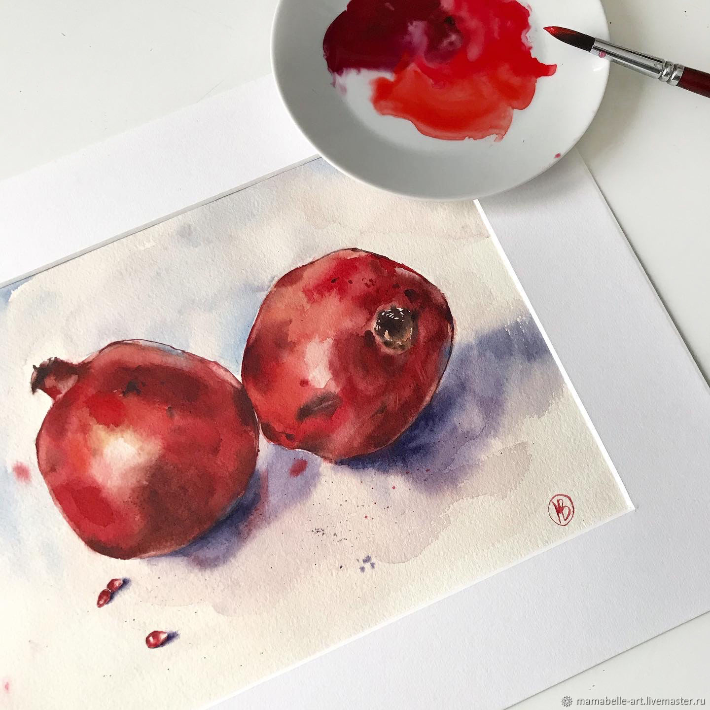 Garnet watercolor (still life red maroon), Pictures, Ekaterinburg,  Фото №1