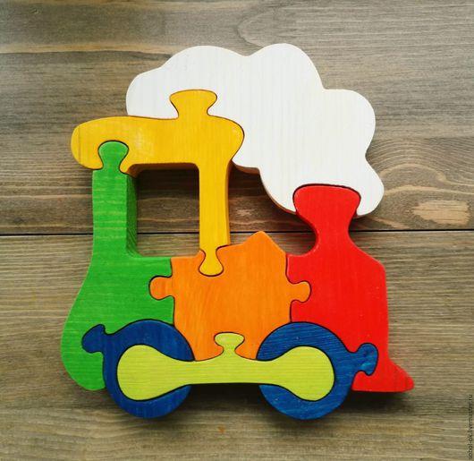 Развивающие игрушки ручной работы. Ярмарка Мастеров - ручная работа. Купить Паровозик из Ромашково. Handmade. Белый, пазлы, деревянная игрушка