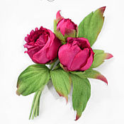 Украшения handmade. Livemaster - original item Silk flowers. Brooch peony fabric. The buds of the peony.. Handmade.