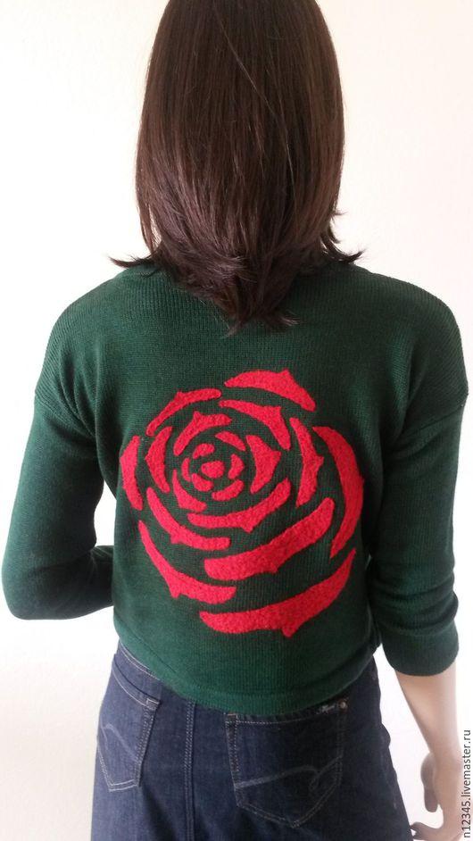 Кофты и свитера ручной работы. Ярмарка Мастеров - ручная работа. Купить Пуловер Алая роза. Handmade. Тёмно-зелёный, цветок