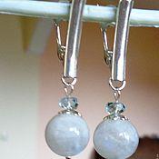 Украшения handmade. Livemaster - original item Moonstone and aquamarine earrings in 925 silver. Handmade.