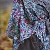 Аксессуары handmade. Livemaster - original item Large neck scarf with pink roses. Handmade.