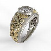 """Украшения handmade. Livemaster - original item Титановое кольцо """"Грифон"""" с муассанитом и золотом. Handmade."""