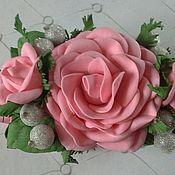 Заколки ручной работы. Ярмарка Мастеров - ручная работа Заколка-краб с розами и бутонами из фоамирана. Handmade.