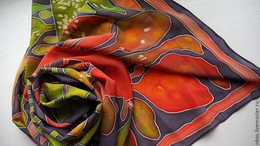 """Шали, палантины ручной работы. Ярмарка Мастеров - ручная работа. Купить Платок шелковый """"Занзибар"""". Handmade. Комбинированный, шелковый платок"""