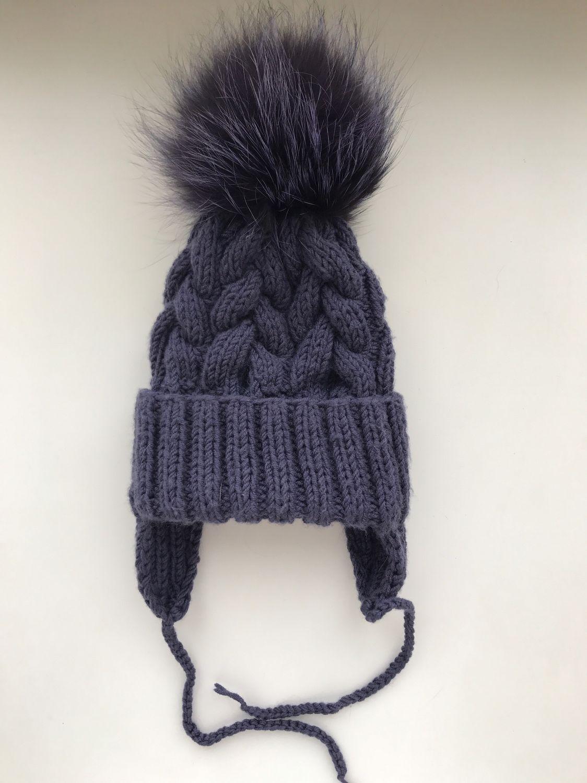 детская вязаная шапка с меховым помпоном купить в интернет