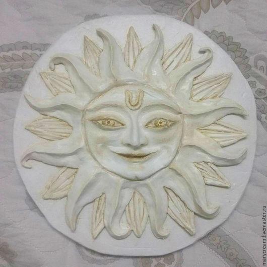 """Этно ручной работы. Ярмарка Мастеров - ручная работа. Купить Панно декоративное  на стену.""""Солнце"""". Handmade. Белый, панно"""