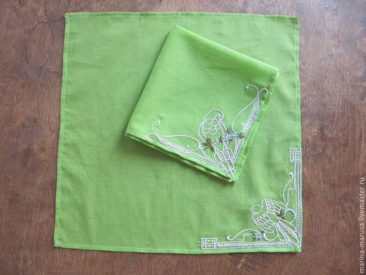 Носовые платочки ручной работы. Ярмарка Мастеров - ручная работа. Купить Мужской платок с вышивкой. Handmade. Салатовый, Для мужчины
